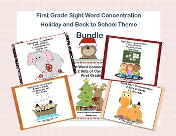 Bundle of First Grade Sight Word Printable Concentration Games- Holiday Themes