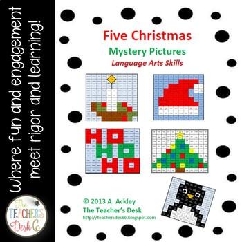 Bundle of Five Christmas Mystery Pictures Nouns, Verbs, Pronouns, etc.