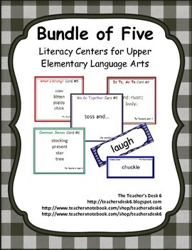 Bundle of Five Literacy Centers for Upper Elementary ELA