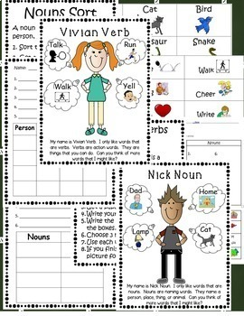 Bundle of Fun with Nouns, Verbs, and Adjectives-word cards w/ pictures & centers