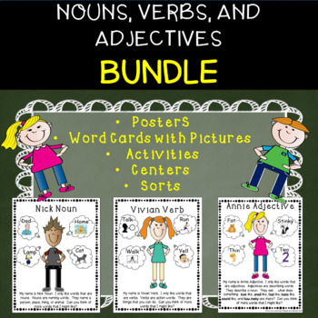 Bundle of Fun with Nouns, Verbs, and Adjectives-word cards