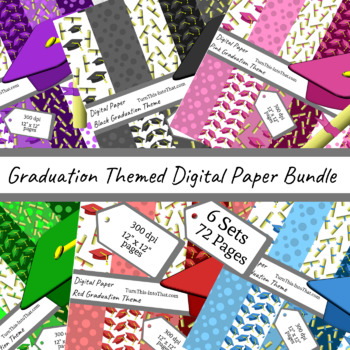 Bundle of Graduation Digital Paper - 72 Scrapbooking Papers Pages Clip Art