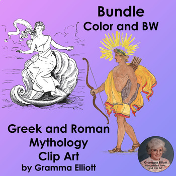 Bundle of Greek and Roman Mythology Clip Art in Color and BW Vintage Style