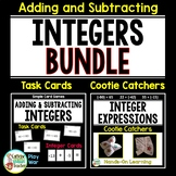 Adding and Subtracting Integers BUNDLE - Task Cards and Cootie Catchers