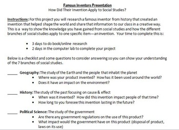 Bundle of Invention, Inventors, and Events Research Projects - 2 Project Package