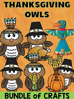 Bundle of Jackie's Craft - Thanksgiving Owls, Activity, Pilgrim, native american