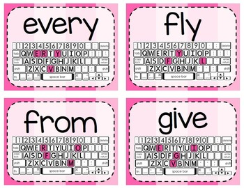 {Bundle} of Keyboarding Activity Cards - Dolch Word List Edition