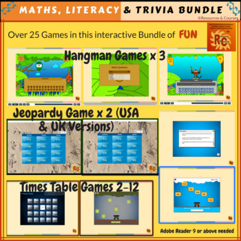 Bundle of Maths, Literacy & Trivia Games (25+)