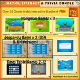 Math, Literacy & Trivia Games Interactive Bundle  (25+)