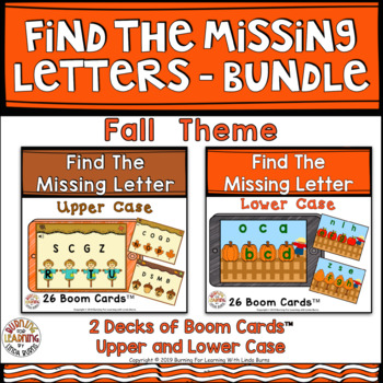 Bundle of Missing Upper and Lower Case Letters Alphabetical Order Boom Cards