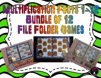 Bundle of Multiplication Facts 1-12 File Folder Games