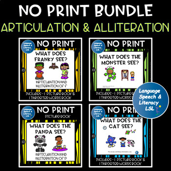 No Print Articulation and Alliteration Bundle Speech Therapy Intervention