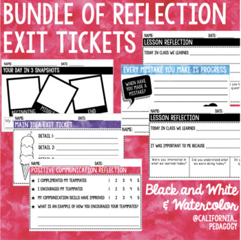 Exit Tickets Reflection Bundle