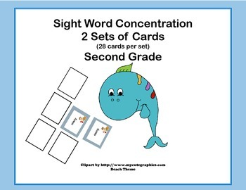 Bundle of Second Grade Sight Word Printable Concentration Games- Four Seasons