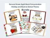 Bundle of Second Grade Sight Word Printable Concentration Games- Holiday Themes