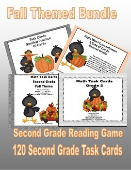 Bundle of Second Grade Task Cards and Game  4CCSS-Fall Theme