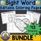Bundle of Sight Word Coloring Activity Sheets  *Editable*