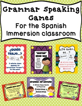 Bundle of Spanish Grammar Speaking Games