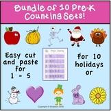 Bundle of Ten Cut and Paste PreK Number Worksheets