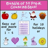 Bundle of Ten Cut and Paste PreK Number Worksheets