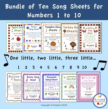 Bundle of Ten Song Sheets For Numbers 1 to 10