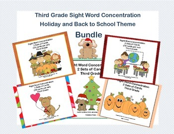 Bundle of Third Grade Sight Word Printable Concentration Games- Holiday Themes