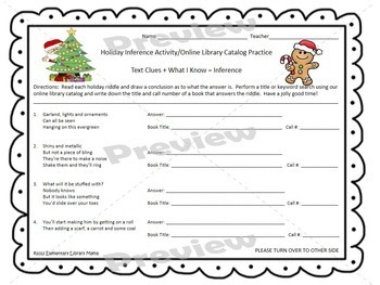 Bundle of Three Holiday Online Library Catalog and Inference Activities