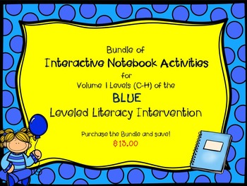Bundle of Vol. 1 Blue Interactive Notebook Leveled Literacy Intervention