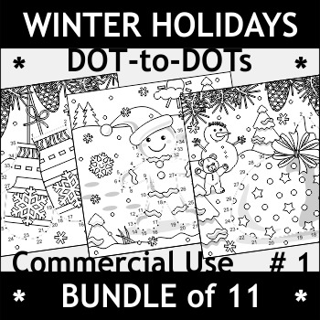 Bundle of Winter Holidays Connect the Dots and Coloring Pages, Commercial