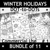 Bundle of Winter Holidays Connect the Dots and Coloring Pa