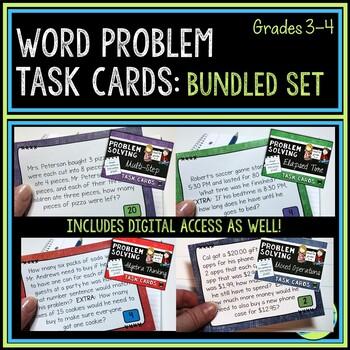 Bundle of  Word Problem Task Cards: Grade 3-4