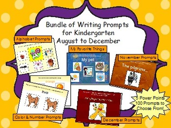 Bundle of Writing Prompts for Kindergarten- August to December