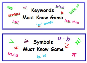 Bundle of all my Math Must Know Games (Keywords, Symbols, Geometry, ect.)
