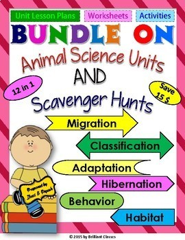 Bundle on Animal science unit & Scavenger hunts