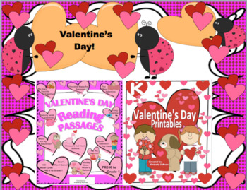 Bundle reading comprehension passages and questions Valentine's Day printables