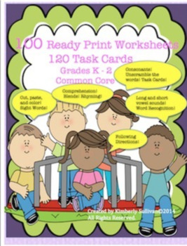Bundle reading interactive notebook and 100 printables No Prep! Sight Words