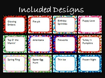 Bundled 12-set Pack Themed Dots Task Card/Scoot Card Templates