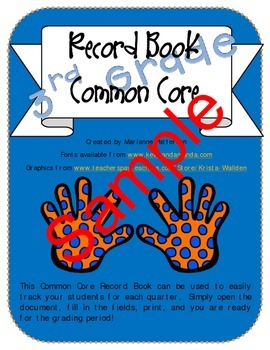 Bundled 1st, 2nd, and 3rd Grade Common Core Record Books