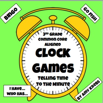Bundled - 3 Telling Time To the Minute Clock Games
