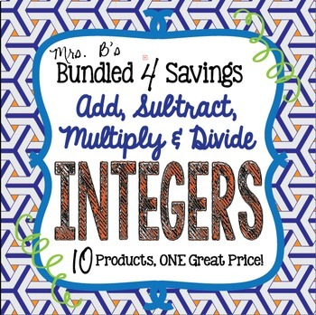 Bundled 4 Savings:  Add, Subtract, Multiply & Divide Integers