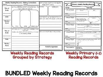 BUNDLED & EDITABLE (ALL SETS) Differentiated Weekly Reading Records