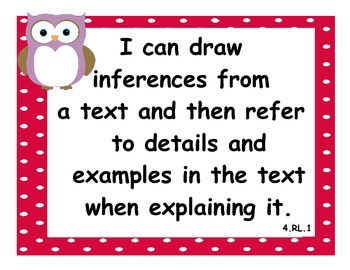 Bundled 4th Grade Math & Language CCSS I Can Statements - Owl Theme