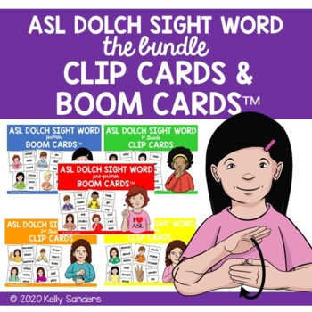 Bundled ASL Dolch Sight Word Clip Cards - Preprimer to 3rd Grade Level