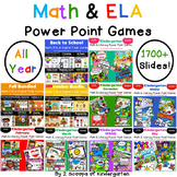 Bundled All Year ELA & Math Power Point Games (Distance Learning)