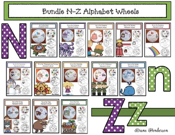 Alphabet Crafts: Alphabet Activities: Bundled Alphabet Wheels N-Z