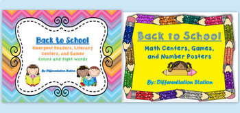 Bundled Back-To-School: Literacy and Math Centers, Games, & Printables