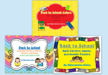Bundled Back-To-School Units:  Colors, Literacy, and Math Centers and Games