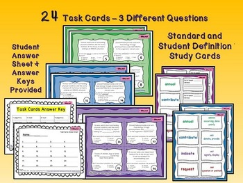 Bundled Bargain - Interactive Vocabulary Task Cards-Quiz-Printables-Units A,B&C