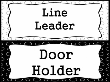 Bundled Classroom Labels:175+ ready to print labels (black/white polka dots)