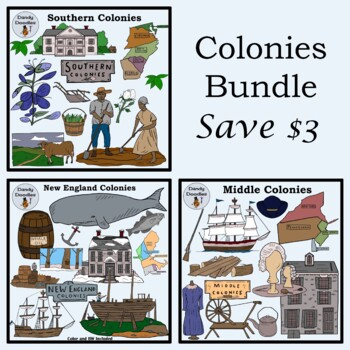 Bundled Colonies (Middle, Southern, New England) Clip Art by Dandy Doodles